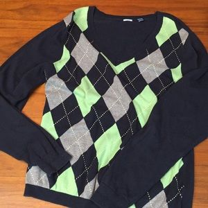 Izod sweater navy blue and green size large